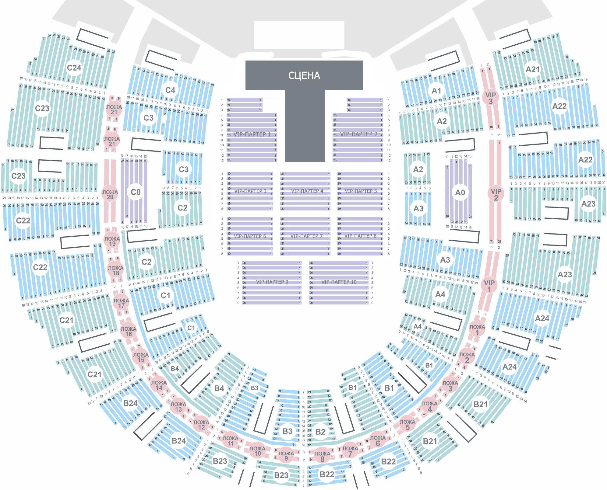 Олимпийский схема зала подробно